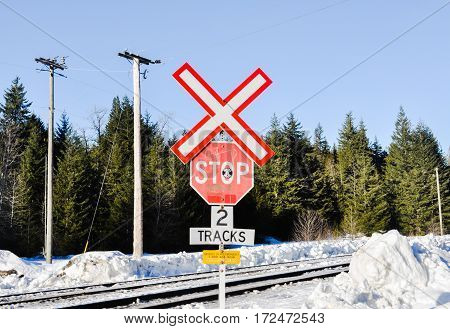 Railway Crossing filled with snow at Whisler ,BC