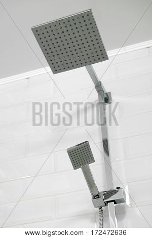 Interior of a shower room with close up shower