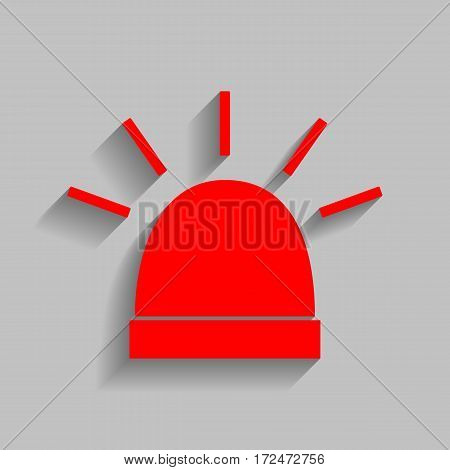 Police single sign. Vector. Red icon with soft shadow on gray background.