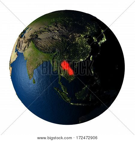 Laos In Red On Earth Isolated On White