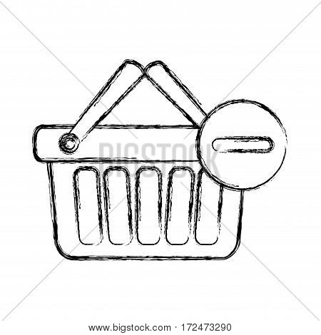 blurred silhouette shopping basket with two handle and minus sign vector illustration