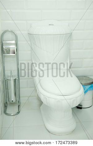 Toilet bowl close up