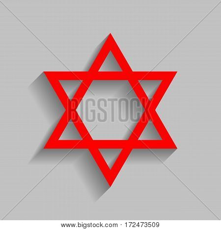 Shield Magen David Star. Symbol of Israel. Vector. Red icon with soft shadow on gray background.