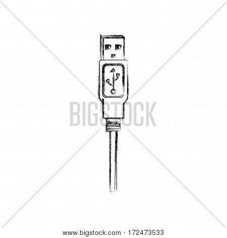 blurred silhouette usb plug with cord vector illustration