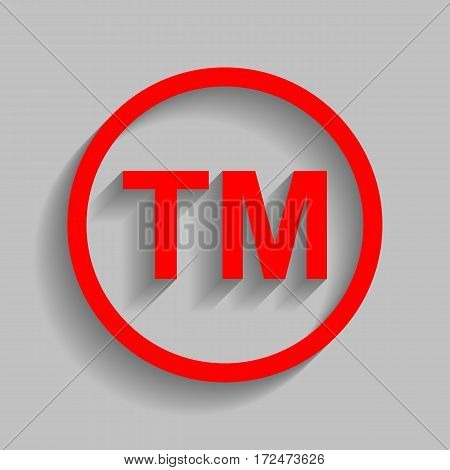 Trade mark sign. Vector. Red icon with soft shadow on gray background.