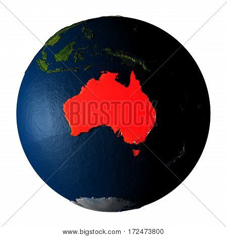Australia In Red On Earth Isolated On White