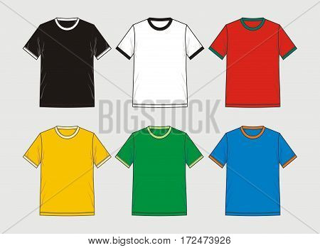 Colorful T shirt design template Combination, vector.