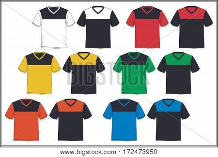 template v neck t-shirt colorful combination, Vector.