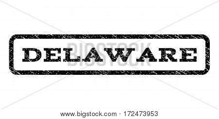 Delaware watermark stamp. Text tag inside rounded rectangle with grunge design style. Rubber seal stamp with scratched texture. Vector black ink imprint on a white background.