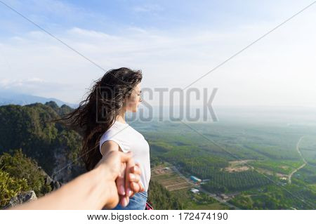 Couple Mountains Summer Vacation, Beautiful Young Girl Hold Male Hand People Holiday Travel