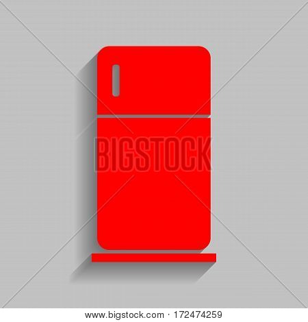Refrigerator sign illustration. Vector. Red icon with soft shadow on gray background.
