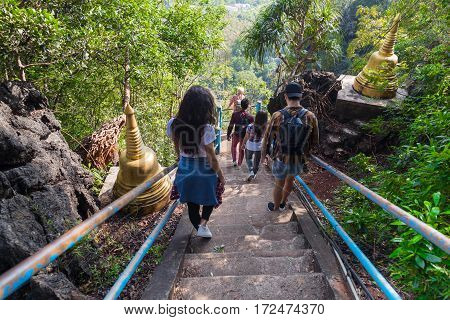 Young People Group Go Down Stairs Mountains Asian Holiday Summer Vacation Asian Travel Tourists Back Rear View