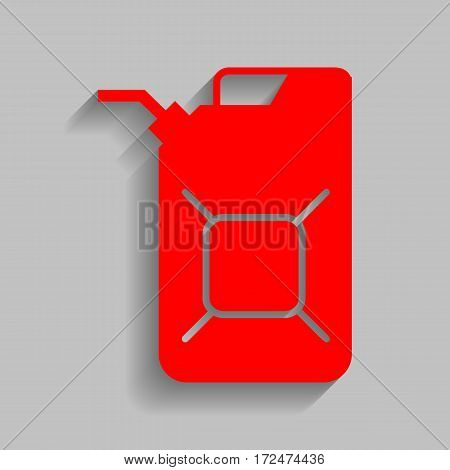 Jerrycan oil sign. Jerry can oil sign. Vector. Red icon with soft shadow on gray background.