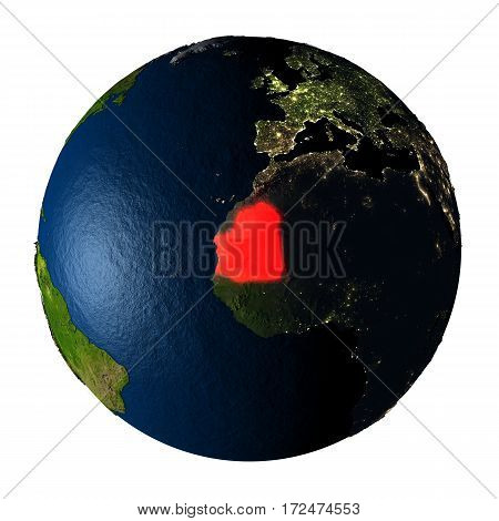 Mauritania In Red On Earth Isolated On White
