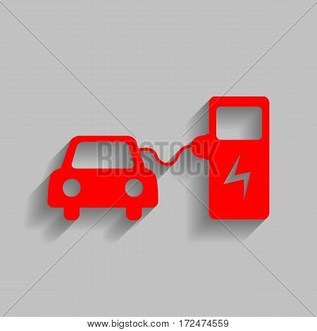 Electric car battery charging sign. Vector. Red icon with soft shadow on gray background.