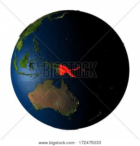 Papua New Guinea In Red On Earth Isolated On White