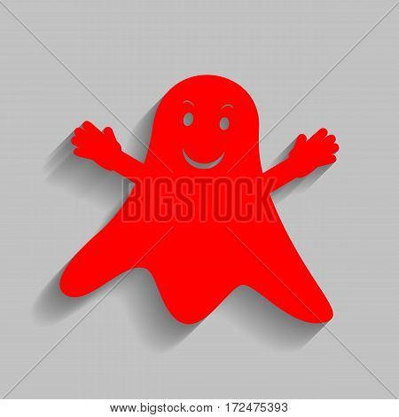 Ghost isolated sign. Vector. Red icon with soft shadow on gray background.