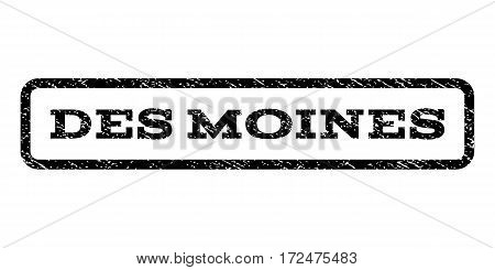 Des Moines watermark stamp. Text caption inside rounded rectangle with grunge design style. Rubber seal stamp with unclean texture. Vector black ink imprint on a white background.