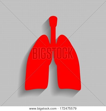 Human organs Lungs sign. Vector. Red icon with soft shadow on gray background.