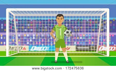 Soccer goalkeeper keeping goal on arena vector illustration. Flat. Football keeper in frame