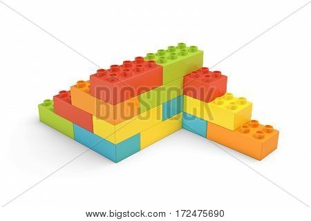 3d rendering of multi-colored toy bricks making up two-sided stairs on white background. Toys and games. Leisure and recreation.