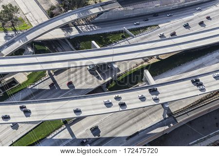 Aerial view of route 5 and 170 freeway ramps in the San Fernando Valley area of Los Angeles.