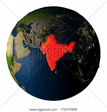 India In Red On Earth Isolated On White