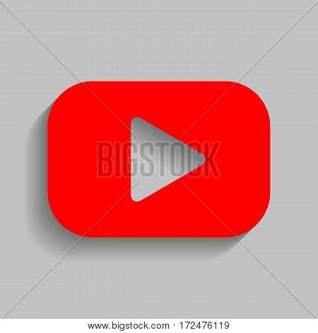 Play button sign. Vector. Red icon with soft shadow on gray background.