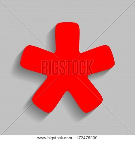Asterisk star sign. Vector. Red icon with soft shadow on gray background.