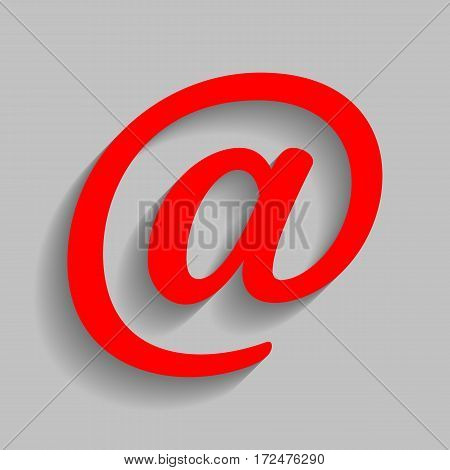 Mail sign illustration. Vector. Red icon with soft shadow on gray background.