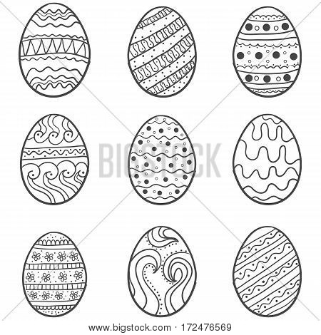 Doodle of easter egg set vector collection stock