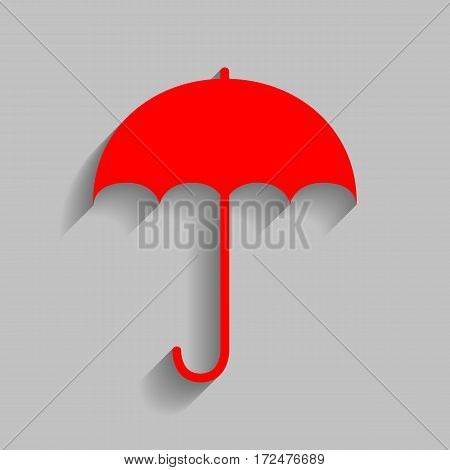 Umbrella sign icon. Rain protection symbol. Flat design style. Vector. Red icon with soft shadow on gray background.
