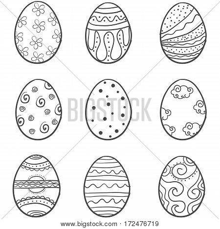 Doodle of easter egg set style vector illustration