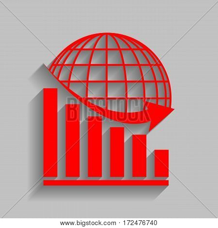 Declining graph with earth. Vector. Red icon with soft shadow on gray background.