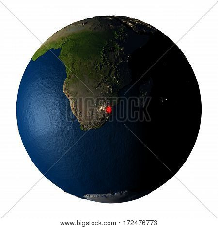 Swaziland In Red On Earth Isolated On White