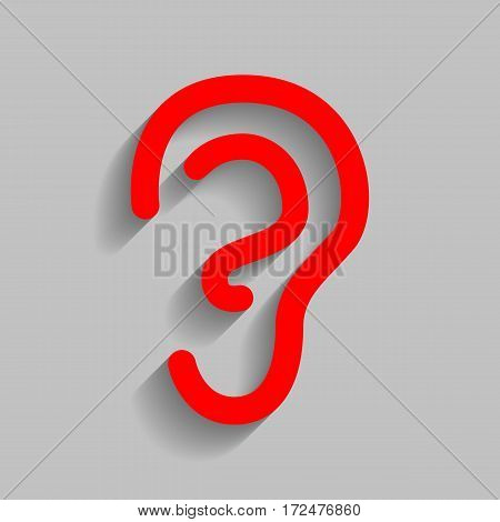 Human ear sign. Vector. Red icon with soft shadow on gray background.