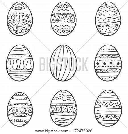 Doodle of easter egg set hand draw vector art