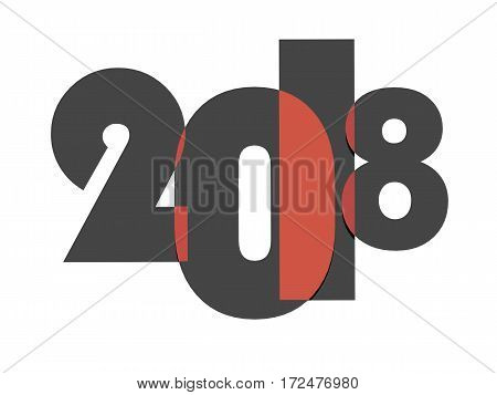 2018 New Year Concept. 3D Illustration