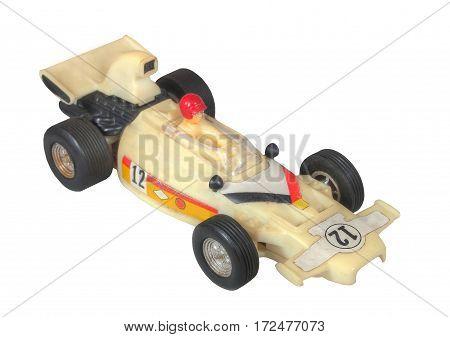 White race car toy / Formula One White / isolated white