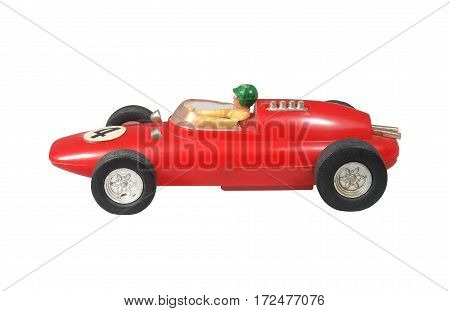 Red race car toy / Formula One red  / isolated white