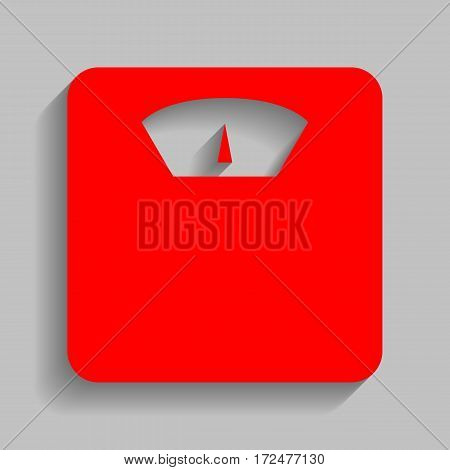 Bathroom scale sign. Vector. Red icon with soft shadow on gray background.