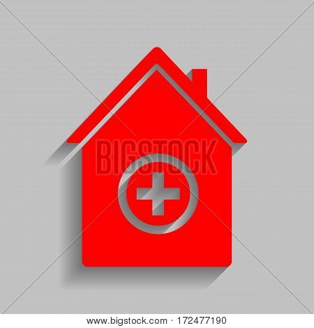 Hospital sign illustration. Vector. Red icon with soft shadow on gray background.