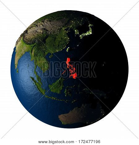 Philippines In Red On Earth Isolated On White