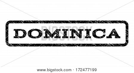 Dominica watermark stamp. Text tag inside rounded rectangle with grunge design style. Rubber seal stamp with scratched texture. Vector black ink imprint on a white background.