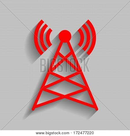 Antenna sign illustration. Vector. Red icon with soft shadow on gray background.