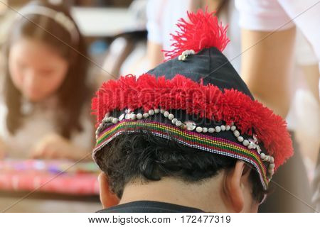Hill tribes hat costume. Fabric of hill tribes hat costume abstract blur background