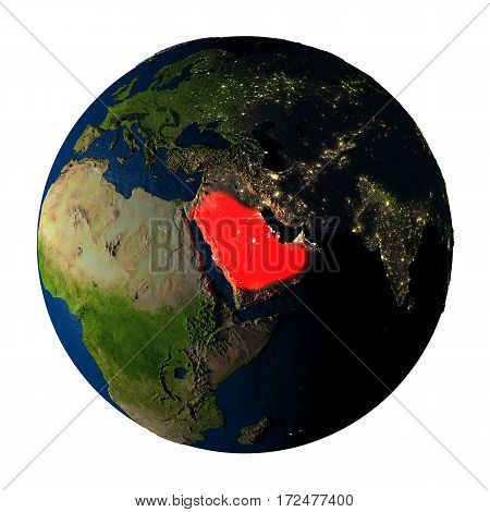 Saudi Arabia In Red On Earth Isolated On White