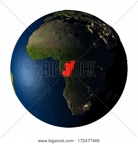 Congo In Red On Earth Isolated On White