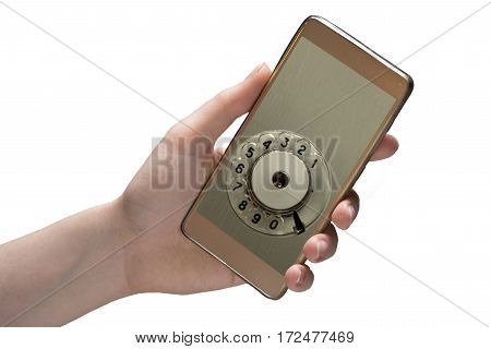 Hand holds mobile phone isolated on white background. The disc for dialing from the retro phone and copy space for print numbers to deal. Conceptual photo.
