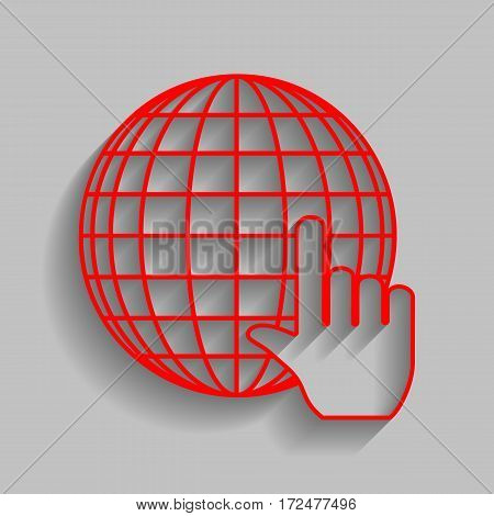 Earth Globe with cursor. Vector. Red icon with soft shadow on gray background.